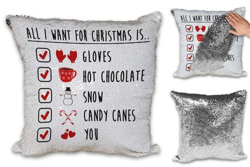 All I Want for Christmas is You Festive Checklist Novelty Sequin Reveal Magic Cushion Cover